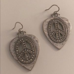 🍀 Lucky Brand Peace Sign Guitar Pick Earrings 🍀